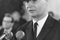 28th April 1969: Alexander Dubcek, Speaker of Czechoslovakia's Federal Assembly and member of Presidium of the Central Committee of the Communist Party of Czechoslovakia, during his inauguration speech after election to his new parliamentary post. (Photo by Keystone/Getty Images)